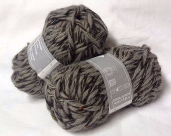 knit - wool / set of 10 balls / over-sized /taupe tweede/made in FRANCE