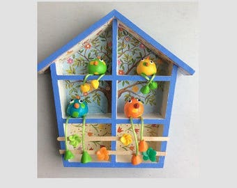 Easter, chicken coop, wooden house with 4 little chickens