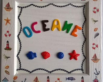 Personalized name Ocean pattern frame