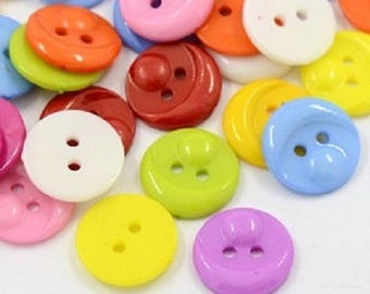 lot 50 face 12 mm multicolor new 2 hole buttons
