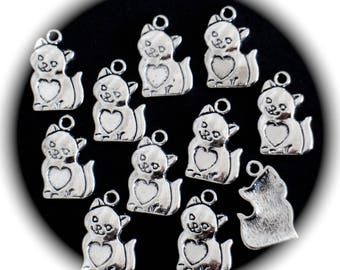 5 charms cats and hearts in silver