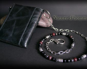 Chain with natural stones and more black leather Biker wallet: BN-358