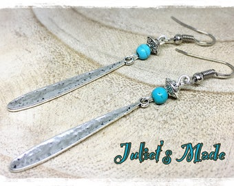 Earrings silver ethnic turquoise howlite