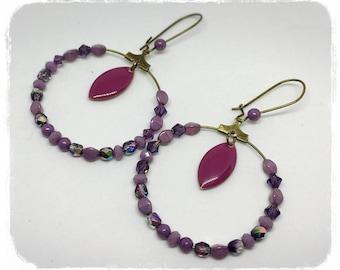 Bronze hoop earrings, Plum, purple, lilac and Wisteria