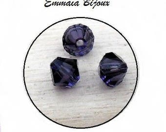 5 purple bicone Crystal beads 4 x 4 mm