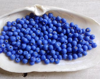 20 bead spacer in porcelain blue 4.5 mm