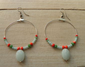 Hoop earrings silver miyuki beads