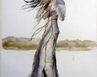 watercolor woman reads and share his thoughts
