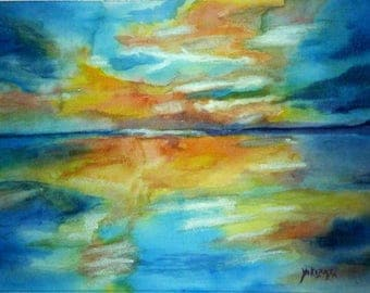 watercolor sunset over the sea
