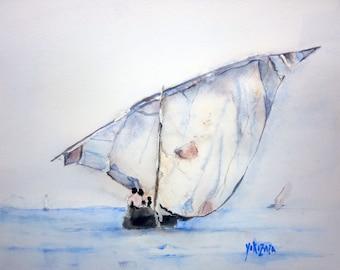 watercolor the Felucca boat in Arabic