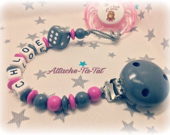 Pacifier clip, personalized pacifier, game, gray and magenta.