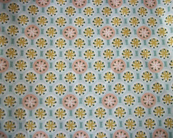 Coupon of fabric flowers and circles 100 * 150