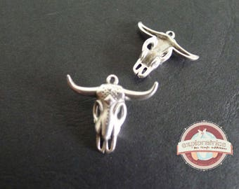 Buffalo 23X27mm silver deer head skull charm