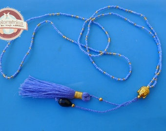 ethnic Necklace blue glass tassel and Buddha gold