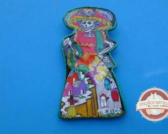 large Mexican calavera skull 35x60mm pendant
