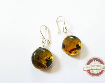 Amber and Silver earrings handmade 15mm