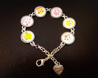 OWL bracelet, glass cabochons 12mm, colorful owls