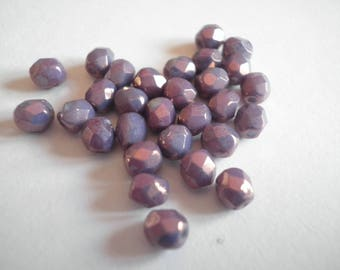 25 4 mm cyclamen opal AB faceted beads