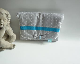 Changing pad Nomad - gray with white dots, turquoise