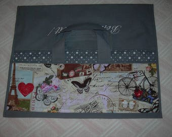 Pie bag: RETRO, charcoal grey, retro bicycle, PARIS and EIFFEL Tower fabric tape