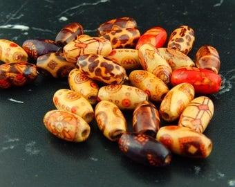 10 printed 296 Tibetan style oval beads