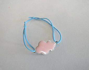 Cloud enamel rose link bracelet elastic blue in STOCK