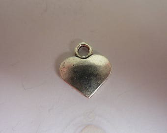 1 xBreloque heart shaped silver-plated 17 x 15 mm