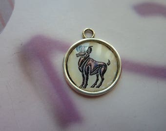 1 cabochon resin 20mm silver round metal Aries zodiac sign
