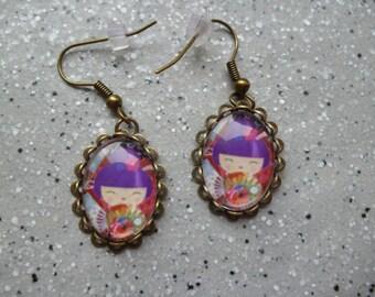 Earrings sleepers bronze metal kokesis.