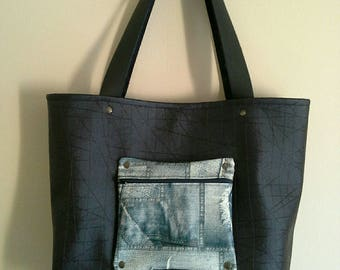 NEW COLLECTION! Navy faux leather tote bag