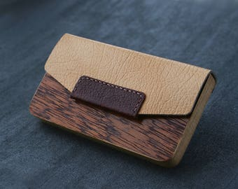 leather business card case card holder wallet wood business cardholder for men dad him leather card sleeve card case mens minimalist wallet