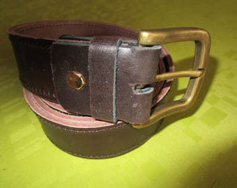 bronze brown leather and buckle belt