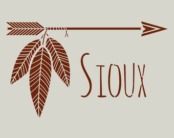 Stenciled arrows. Sioux stencil. Stenciled feathers (ref 467)