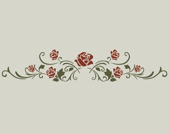 Stenciled roses arabesque. Stencil arabesque (ref 348)