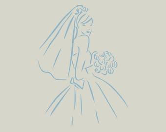 Stenciled bride. Bride drawing (ref 710)