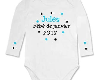 January 2017 personalized with name Bodysuit