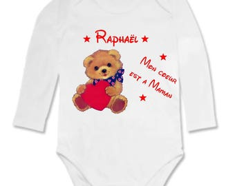 Teddy bear baby Bodysuit is a MOM personalized with name