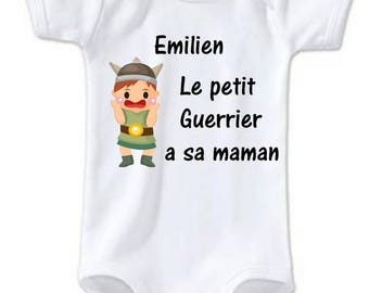 The little Warrior Bodysuit has MOM personalized with name
