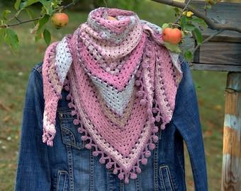 Shawl, scarf / crochet half-granny square tone old pink, gray