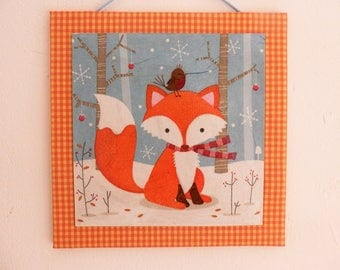 Textile painting and collage, little Fox