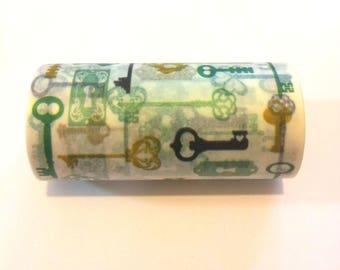 """1 roll of """"masking tape"""" - white patterned key - 7.5 T 10 cm"""