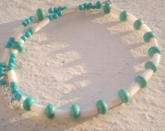 "Necklace ""Turquoise and mother of Pearl"""