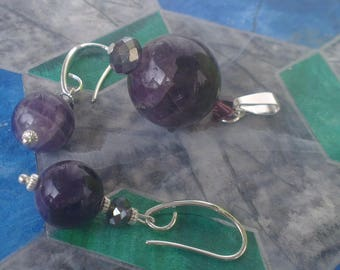Set: pendant and Amethyst earrings
