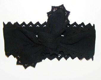 Bandeau bébé, enfant, et adulte,jersey élasthanne noir et bords en dentelle noir