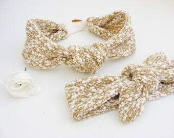 Bandeaux / headbands maille chiné beige et blanc tout doux