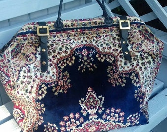 Handmade Blue/Gold and Red Plush Persian style Carpet Bag/Mary Poppins Bag