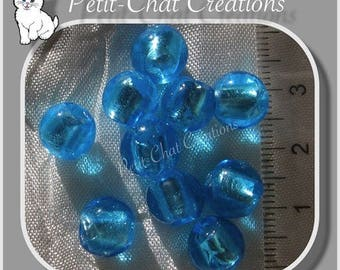 10 round blue clear glass 9-10mm silver leaf LAMPWORK beads * L263