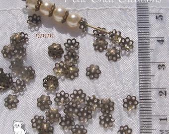 200 bronze filigree spacer beads 6mm bronze metal caps * j134