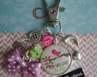 "Keychain or bag charm ""life is beautiful"""
