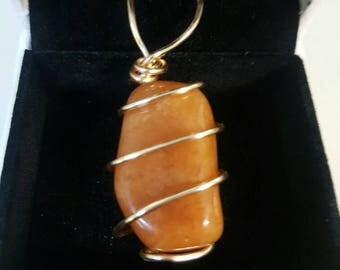 Wrapped Orange Aventurine Necklace Gemstone
